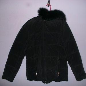 Anna Klein black puffer coat down filled size L